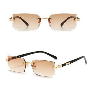Detroit Style Square Rimless Sunglasses TEA